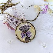 Pendants handmade. Livemaster - original item Vintage Round Pendant with a Bouquet of Lavender