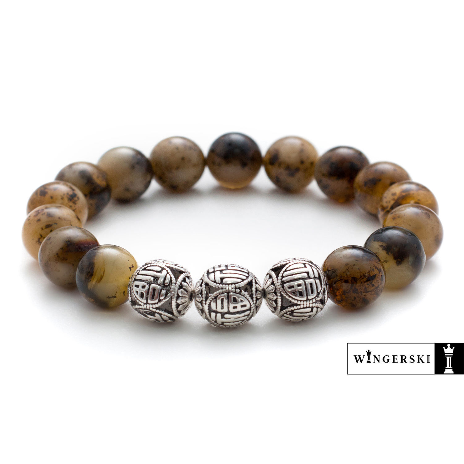 Men's bracelet made of Baltic amber with silver charms, Bead bracelet, Moscow,  Фото №1