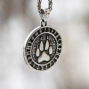 Украшения handmade. Livemaster - original item Pendant / Amulet Wolf Paw with Runes of Jewelry Steel. Handmade.