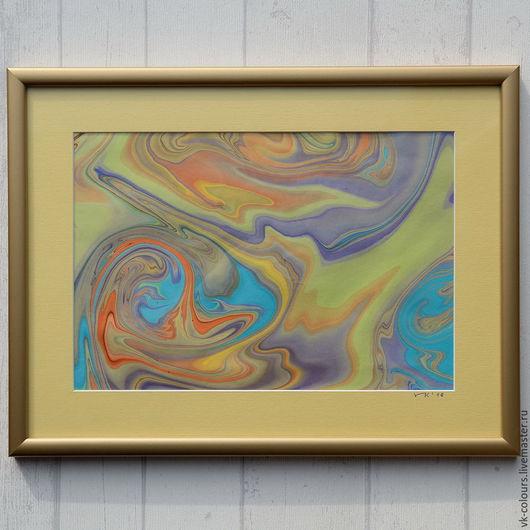 Абстракция ручной работы. Ярмарка Мастеров - ручная работа. Купить живопись на воде 1. Handmade. Желтый, картина, картина в подарок