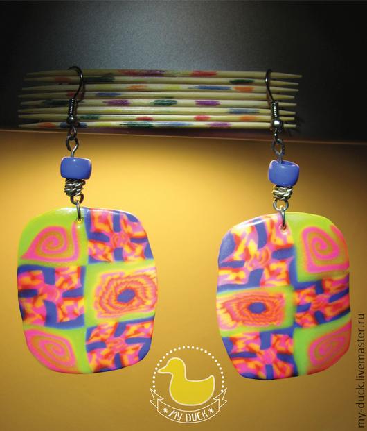 """Серьги ручной работы. Ярмарка Мастеров - ручная работа. Купить Серьги """"Цветные сны"""". Handmade. Разноцветный, полимерная глина"""