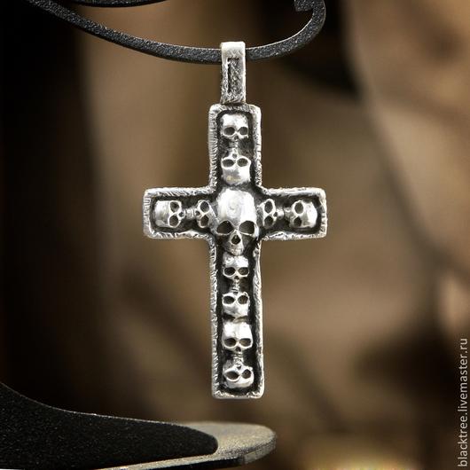 """Кулоны, подвески ручной работы. Ярмарка Мастеров - ручная работа. Купить Серебряная подвеска """"Крест"""", мужской кулон, подарок мужчине. Handmade."""