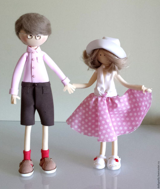 Коллекционные куклы ручной работы. Ярмарка Мастеров - ручная работа. Купить Андрюша и Светочка. Handmade. Бледно-розовый, подарок маме