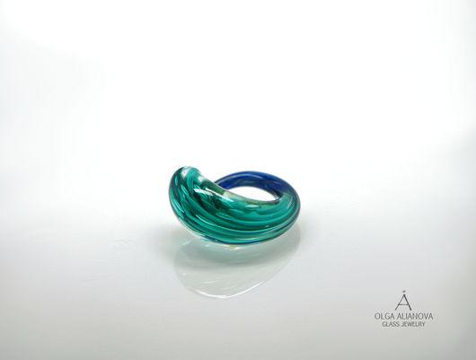 """Кольца ручной работы. Ярмарка Мастеров - ручная работа. Купить Кольцо """"Aqua"""". Handmade. Кольцо, стекло мурано, бирюзовый, стекло"""
