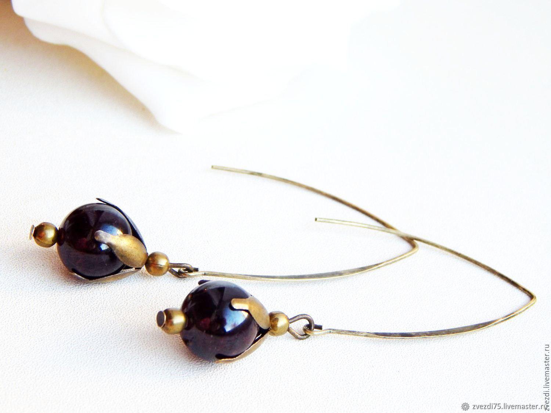 Yesenia earrings with garnet, Earrings, Minusinsk,  Фото №1