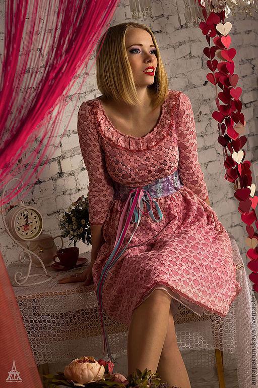 """Платья ручной работы. Ярмарка Мастеров - ручная работа. Купить Платье """"Baby Doll""""+пояс в подарок. Handmade. Бледно-розовый"""