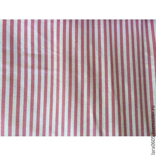 Шитье ручной работы. Ярмарка Мастеров - ручная работа. Купить Ткань Розовая полоска, хлопок. Handmade. Белый, хлопок