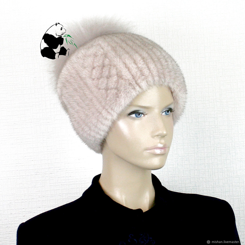 Elegant ladies hat made of fur Finnish mink. Art.DF-121, Caps, Ekaterinburg,  Фото №1