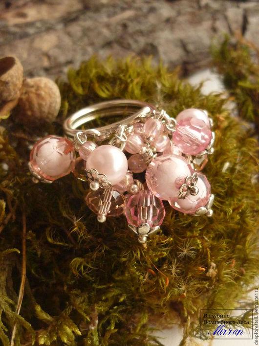 """Кольца ручной работы. Ярмарка Мастеров - ручная работа. Купить Кольцо """"Розовые облачка"""". Розовое кольцо. Крупное кольцо.Розовый.. Handmade."""