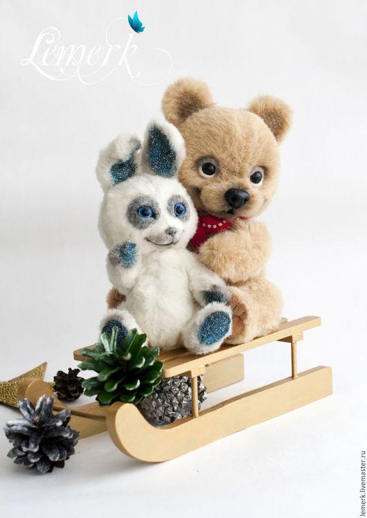 Мишки Тедди ручной работы. Ярмарка Мастеров - ручная работа. Купить Медвежонок Медовые ушки и зайчонок Иней. Тедди. Handmade.