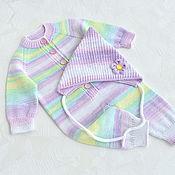 handmade. Livemaster - original item Jumpsuit and cap for a newborn baby girl. 100% cotton. Handmade.