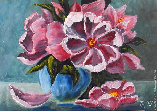 """Картины цветов ручной работы. Ярмарка Мастеров - ручная работа. Купить """"Просто цветы"""". Handmade. Фуксия, цветы, картина в спальню"""