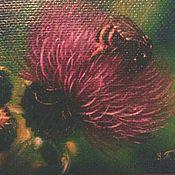 Картины и панно handmade. Livemaster - original item Oil painting the Shaggy bumblebee. Handmade.