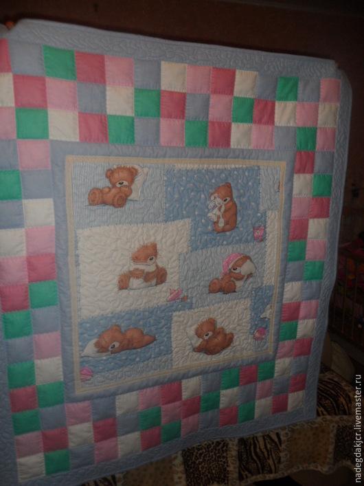 Пледы и одеяла ручной работы. Ярмарка Мастеров - ручная работа. Купить Детский комплект Мишки серо-голуб одеяло и наволочка. Handmade.