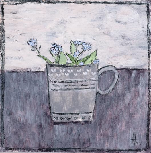 Картины цветов ручной работы. Ярмарка Мастеров - ручная работа. Купить Незабудки в кружке. Handmade. Сиреневый, серый, Живопись, кружка