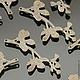 Подвески металлические из латуни с покрытием матовое серебро в виде ветки с листьями для использования в сборке украшений