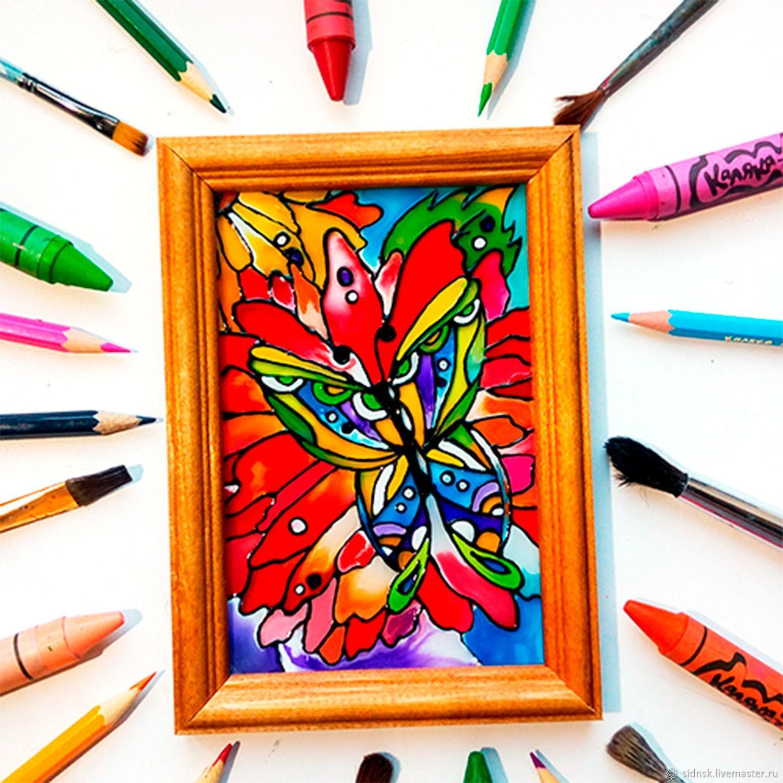 """Витражная картина  с бабочкой """"Летнее настроение"""", Картины, Новосибирск, Фото №1"""