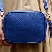 """Сумки и аксессуары ручной работы. Ярмарка Мастеров - ручная работа Кожаная женская синяя сумка """"Leah"""". Handmade."""