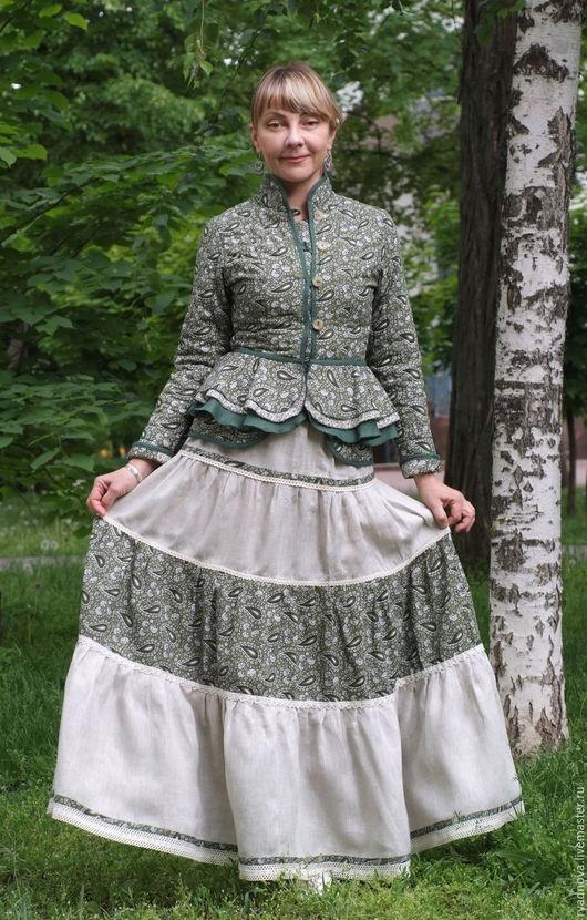 Пиджаки, жакеты ручной работы. Ярмарка Мастеров - ручная работа. Купить Жакет-душегрея  Любовь к огурцам зеленый с баской. Handmade.