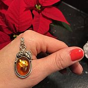 Винтаж handmade. Livemaster - original item warm sun pendant, amber, 925 silver, holland. Handmade.