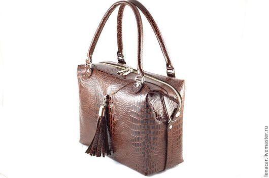 Женские сумки ручной работы. Ярмарка Мастеров - ручная работа. Купить Женская кожаная сумка-саквояж 192. Handmade. Сумка
