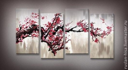 Картины цветов ручной работы. Ярмарка Мастеров - ручная работа. Купить Сакура. Handmade. Коралловый, купить подарок, продажа