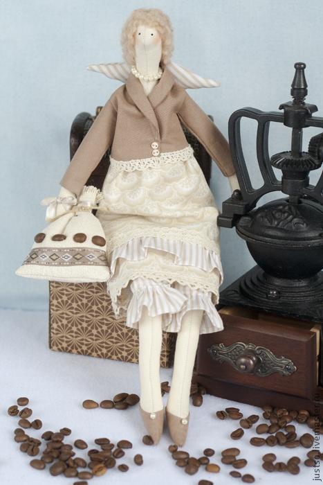 Куклы Тильды ручной работы. Ярмарка Мастеров - ручная работа. Купить Кофейная фея Тильда. Handmade. Бежевый, подарок кофеману