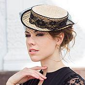 Аксессуары handmade. Livemaster - original item Straw hat-top hat with veil. Handmade.