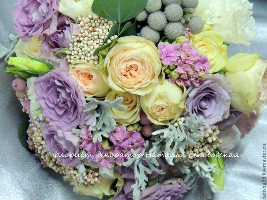 Свадебные цветы ручной работы. Ярмарка Мастеров - ручная работа. Купить Сиреневый букет невесты. Handmade. Сиреневый, оформление цветами