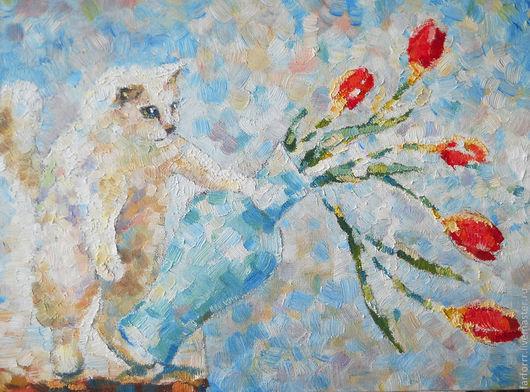 Животные ручной работы. Ярмарка Мастеров - ручная работа. Купить Картина Ой! Белый кот и красные тюльпаны.... Handmade. Голубой