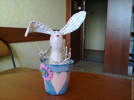 """Куклы Тильды ручной работы. Ярмарка Мастеров - ручная работа. Купить """"Цветок"""" в горшочке. Handmade. Заяц тильда, заяц игрушка"""