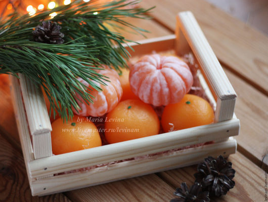Новый год 2017 ручной работы. Ярмарка Мастеров - ручная работа. Купить Ящик с мандаринами 2. Handmade. Оранжевый, оригинальный подарок