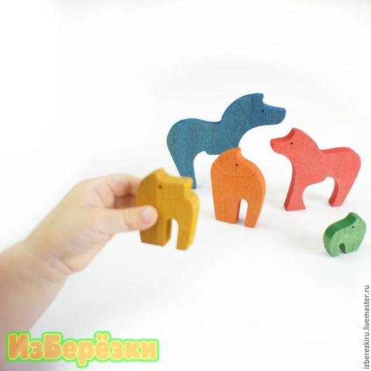 """Игрушки животные, ручной работы. Ярмарка Мастеров - ручная работа. Купить Деревянный фигурки-пазл """"Семейство пони"""" цветные. Handmade."""
