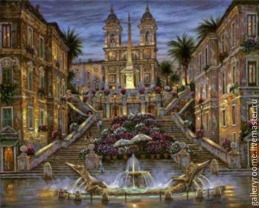 Другие виды рукоделия ручной работы. Ярмарка Мастеров - ручная работа. Купить Картина по номерам Испанская лестница. Handmade. Раскраска