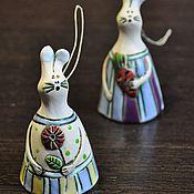 Сувениры и подарки ручной работы. Ярмарка Мастеров - ручная работа колокольчики-зайки. Handmade.