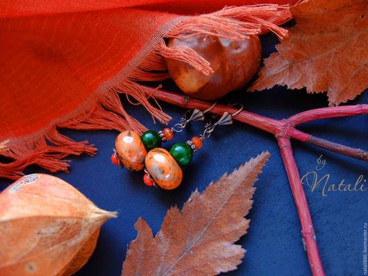 """Серьги ручной работы. Ярмарка Мастеров - ручная работа. Купить Серьги """"Солнечный октябрь"""" (2 вариант) - керамика, поделочный камень. Handmade."""