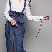Юбки ручной работы. Ярмарка Мастеров - ручная работа Джинсовая юбка с высокой талией, макси юбка со съемными шлейками. Handmade.