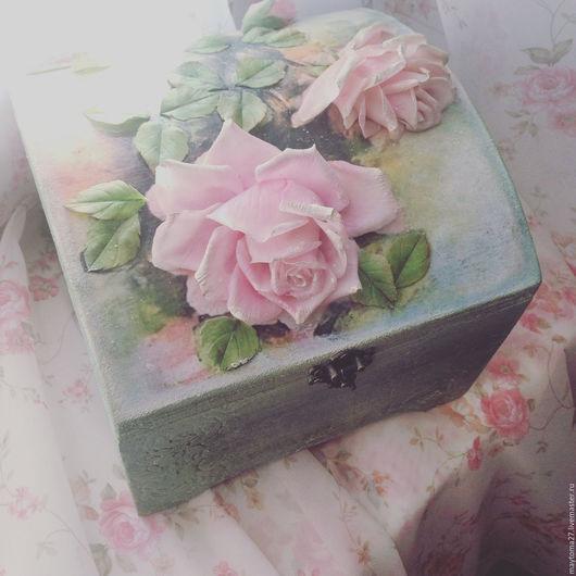 Шкатулки ручной работы. Ярмарка Мастеров - ручная работа. Купить Сундучок с розами. Продан. Handmade. Бледно-розовый, сундук деревянный