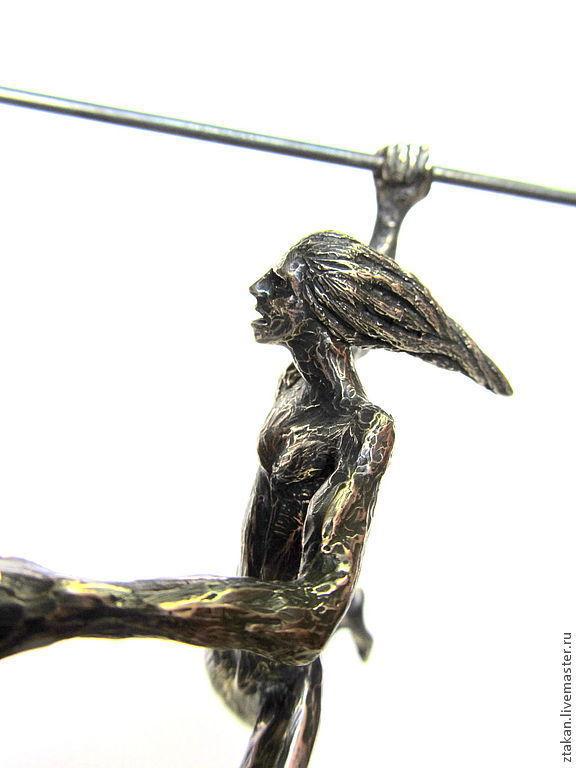 """Минискульптура """"Охотник"""". Серебро, кристалл офикальцита, сталь,бронза, Статуэтки, Москва, Фото №1"""