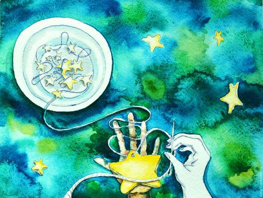 """Фантазийные сюжеты ручной работы. Ярмарка Мастеров - ручная работа. Купить Картина акварелью """"Гирлянда из звезд"""". Handmade. Зеленый, звезды"""