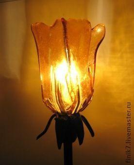 """Освещение ручной работы. Ярмарка Мастеров - ручная работа. Купить Фьюзинг. Настольный светильник """"Фиеста"""". Handmade. Стекло, стекло фьюзинг"""