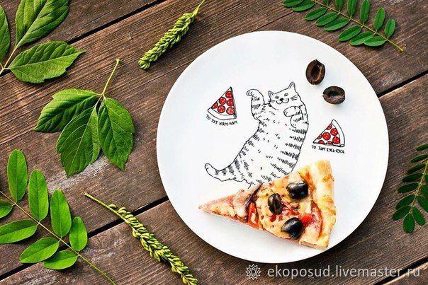 """Тарелка для второго. Дизайнерская тарелка """"Кот и пицца"""" Подарок, Тарелки, Харьков,  Фото №1"""