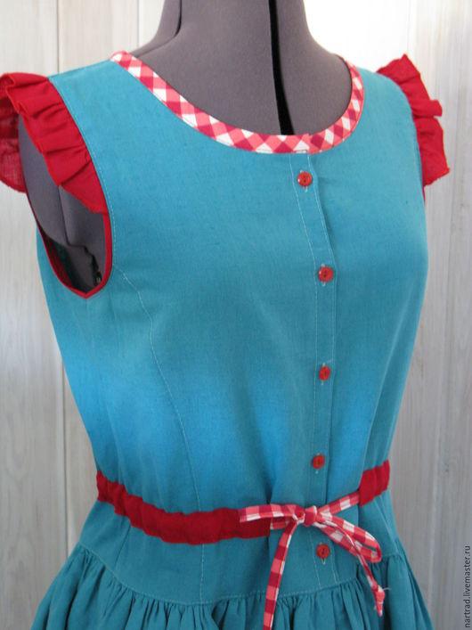 Платья ручной работы. Ярмарка Мастеров - ручная работа. Купить Платье-сарафан Ягодка. Handmade. Тёмно-бирюзовый, льняное платье