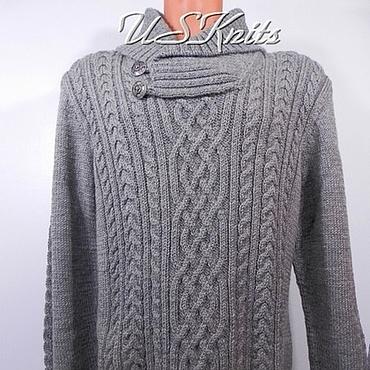 Clothing handmade. Livemaster - original item Men`s knitted sweater with collar. Handmade.