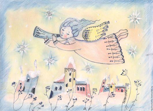 Рождественский зимний ангел, летящий над городом.  Звезды в небе.Фантазийный сюжет на грунтованной бумаге в авторской расписной раме. Картины-сказки Алёны Коневой