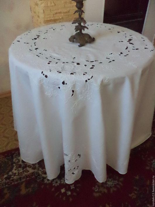Винтажные предметы интерьера. Ярмарка Мастеров - ручная работа. Купить скатерть -овал -вышивка ришелье. Handmade. Белый