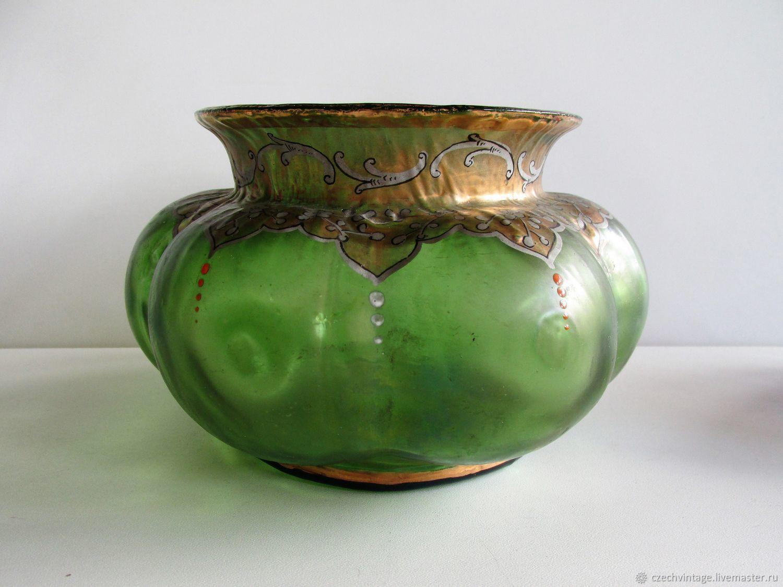 Antique Loetz Vase Iridized Glass Hand Painted, Vintage interior, Prague,  Фото №1