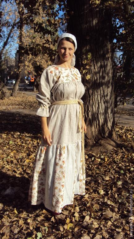 """Платья ручной работы. Ярмарка Мастеров - ручная работа. Купить Платье """"Цветы на молочном и небеленый"""". Handmade. Цветочный, женская рубаха"""