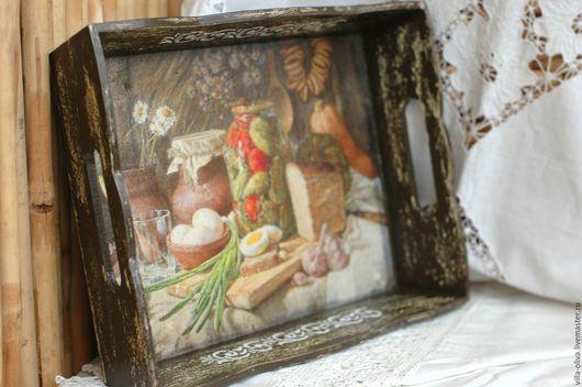 Кухня ручной работы. Ярмарка Мастеров - ручная работа. Купить Поднос В стиле полотен старых мастеров коричневый. Handmade.