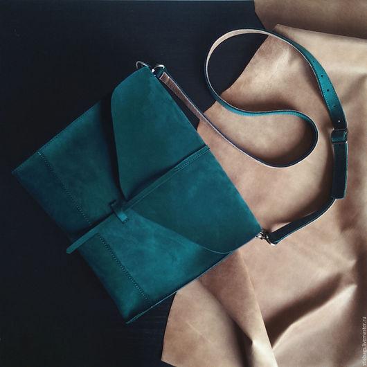 Женские сумки ручной работы. Ярмарка Мастеров - ручная работа. Купить Кожаная сумка изумрудного цвета Libra. Handmade. синий